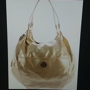 Tory Burch gold leather dean hobo purse bag